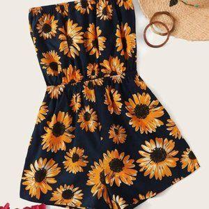 Sunflower Print Tube Romper in S, M, L